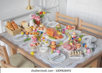 breakfast or brunch table setting for easter meal with friends and family around the table top view
