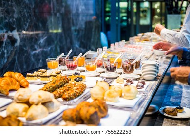Breakfast Buffet Concept, Breakfast Time in Luxury Hotel, Brunch with Family in Restaurant