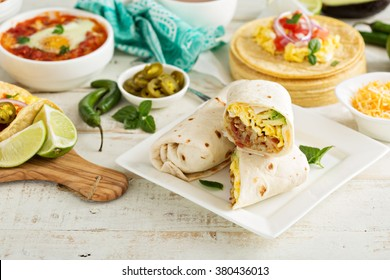 Breakfast burritos with eggs, bacon and potatoes