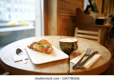 breakfast in a cafe / background food morning fresh breakfast in a cafe