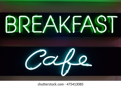 breakfast and cafe neon signs
