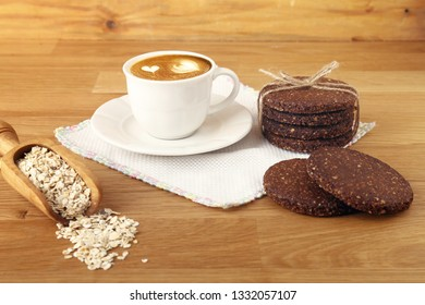 Breakfast with cereal biscuits and coffee