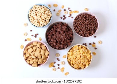 breakfast cereals on a light background top view.