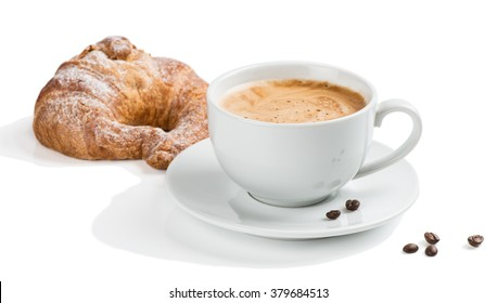 Breakfast with coffee and croissant isolated in white.