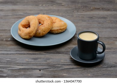 Breakfast coffee with donuts