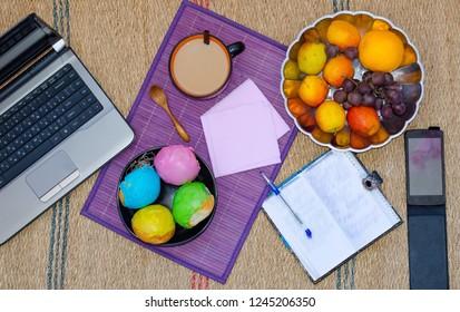 Breakfast. Coffee. Food. Dessert. Break during work. Reception of tea. Buns. Fruits.