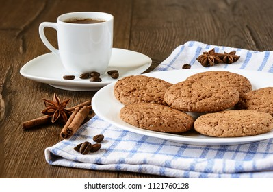 Breakfast with coffee and oatmeal cookies