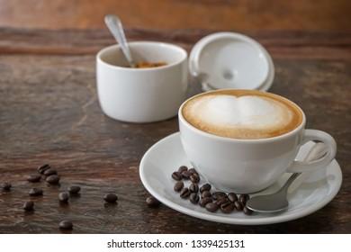 Breakfast coffee on wooden table