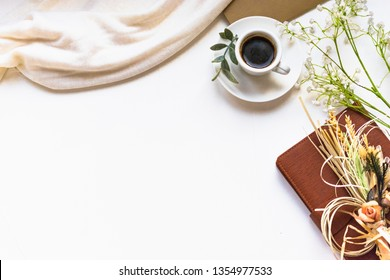 Breakfast composition with coffee and dry flowers. Instagram filter effect. Romantick Flat lay with text for