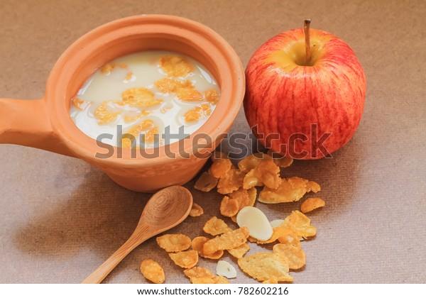 Breakfast Conflict Milk Apple Soft Focus Stock Photo (Edit
