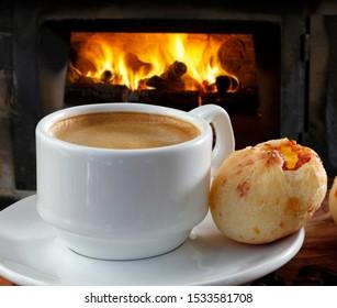 Breakfast Creamy coffee with stuffed cheese bread, pao de queijo