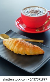 Breakfast croissant and​ coffee​ background​
