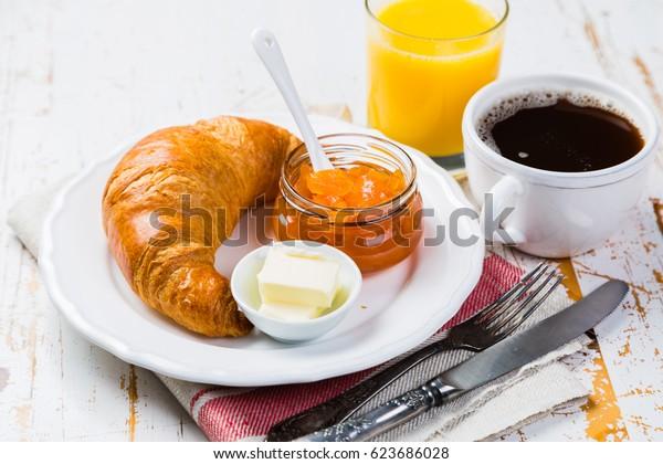 Breakfast - croissants, coffee, juice