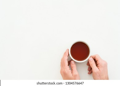 Breakfast cup of tea. Lifestyle concept. Copy space on white background.