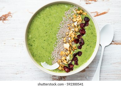 Breakfast Detox Green Smoothie from Banana and Spinach in the Bowl, light background