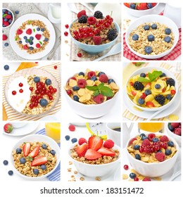 breakfast with different muesli and berries, collage of nine photos