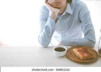 Breakfast, distressed Men