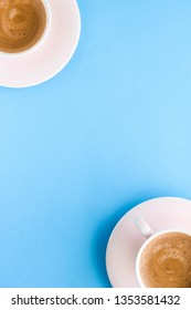 Breakfast, drinks and modern lifestyle concept - Hot aromatic coffee on blue background, flatlay