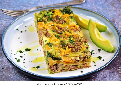 Breakfast egg casserole with beef mince, pumpkin and broccoli. Keto and paleo diet dish