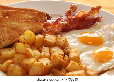 Breakfast of eggs, bacon, toast and hash browns. Also available with sausage instead of bacon.