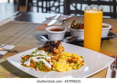 breakfast, eggs, beens and orange juice