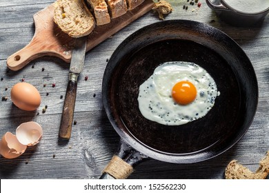 Breakfast of eggs and bread