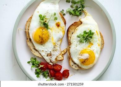 Breakfast, eggs on toast
