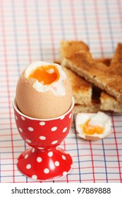 A breakfast favorite of boiled egg and soldiers