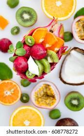Breakfast. Fresh exotic fruits.