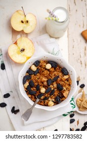 Breakfast granola with milk style vintage.selective focus