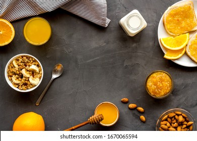 Breakfast with granola mockup on grey background top-down copy space