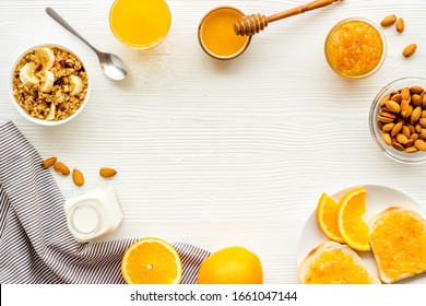Breakfast with granola mockup on white background top-down copy space