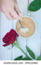 Breakfast for lovers. coffee with milk and flowers