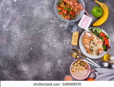 Breakfast, lunch and dinner. Day healthy balanced menu concept