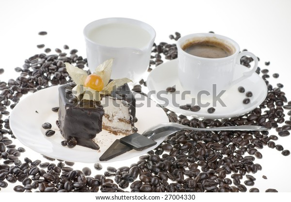 Breakfast or lunch food with chocolate cake and hot black coffee