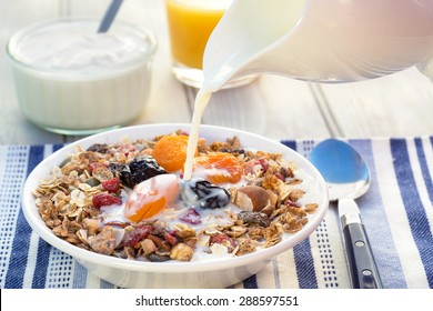 A breakfast of muesli, dried fruit and yogurt