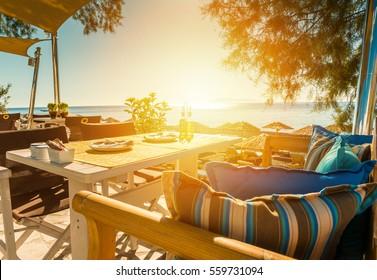 Breakfast on the beach of Santorini island - Greece