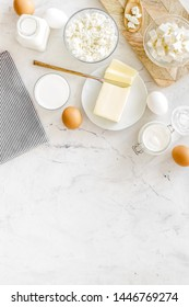 Breakfast on farm with dairy products on marble background top view space for text