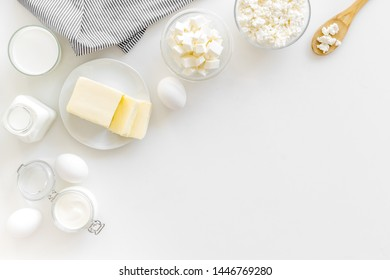 Breakfast on farm with dairy products on white background top view space for text