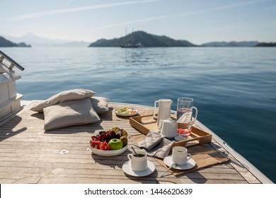 Breakfast on Motor Yacht.A sunny Day