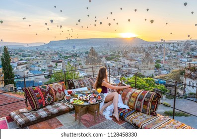 Breakfast on the roof with amazing view on Cappadocia, Turkey.