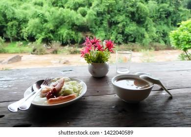 Breakfast at Oun I Mang Homestay in Bo Kluea District, Nan Province , Thailand.