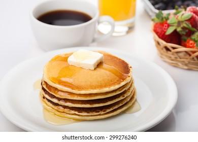 Breakfast, Pancake, Food.