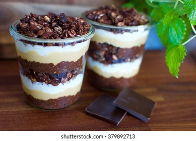 Breakfast parfait with chocolate chia pudding, peanut butter, homemade chocolate granola and vanilla skyr