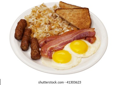 Breakfast plate with eggs sunny side up, bacon, link sausage, hash browns, and toast.  Isolated on white background with clipping path.