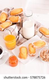 Breakfast with plumcake.
