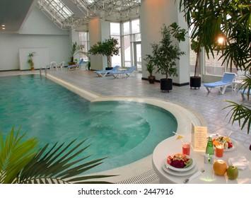 breakfast is in a pool
