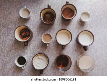 breakfast represented by cups with various ingredients
