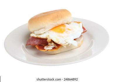 Breakfast roll with bacon & fried egg