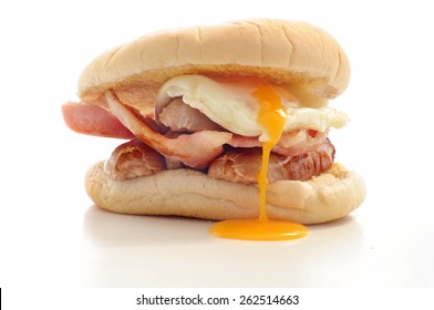 Breakfast Roll bacon sausage and egg sandwich